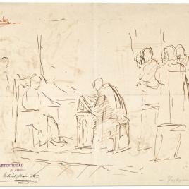 Doña Isabel la Católica dictando su testamento / Apunte de composición histórica. Un clérigo