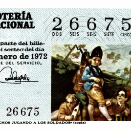 Billete de Lotería Nacional para el sorteo de 25 de enero de 1972