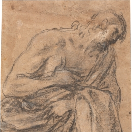 Estudio de una figura masculina, semienvuelta en un manto