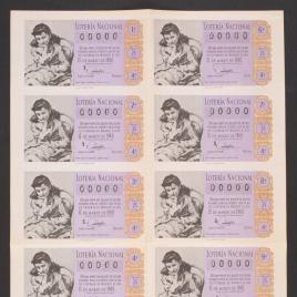 Capilla de billete de Lotería Nacional para el sorteo de 15 de marzo de 1960