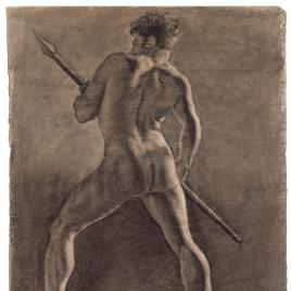 Desnudo masculino con una lanza, de espaldas / Desnudo masculino sentado (inacabado)