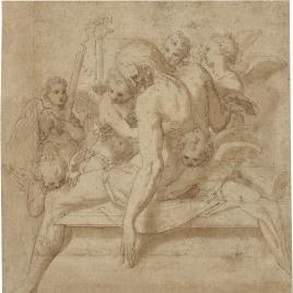 Cristo muerto sostenido por los ángeles