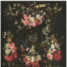 Guirnalda de flores con la Virgen, el Niño y San Juan