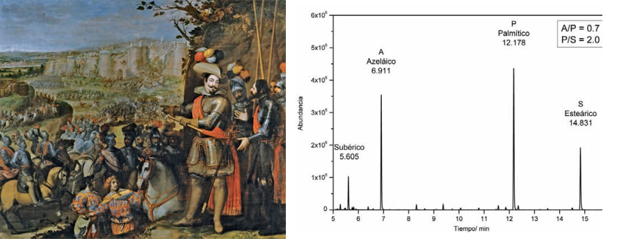 <p><strong>Fig.6:</strong>Chromatogram of the binder of the priming layer obtained by GS-MS of Vicente Carducho's painting <em>The Capture of Rheinfelden</em>, 1634. 297 x 357 cm (P-637). The relative proportions of azelaic, palmitic and stearic acids indicate it is linseed oil.</p>