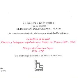 Invitación para la inauguración de las exposiciones