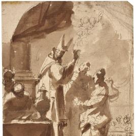 Obispo bendiciendo a una mujer