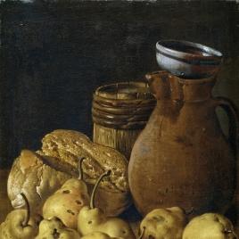 Bodegón con peros, queso, pan y recipientes