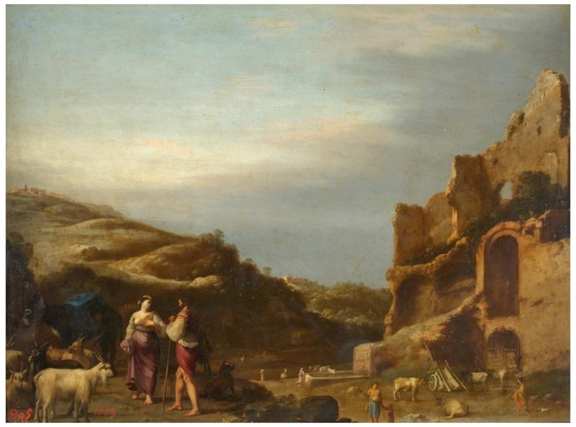 Paisaje con ruinas romanas y pastores