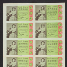Capilla de billete de Lotería Nacional para el sorteo de 15 de febrero de 1960