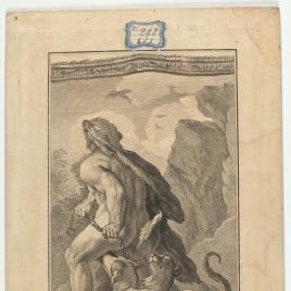 Hércules encadena y aparta al Can Cerbero que le impedía el ingreso al infierno