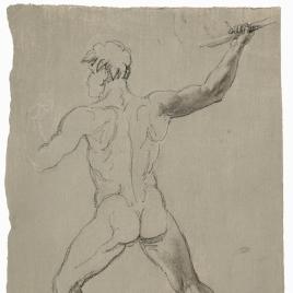 Apunte de desnudo masculino de espaldas blandiendo una lanza