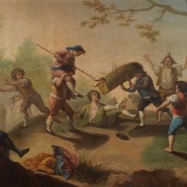Niños jugando al toro