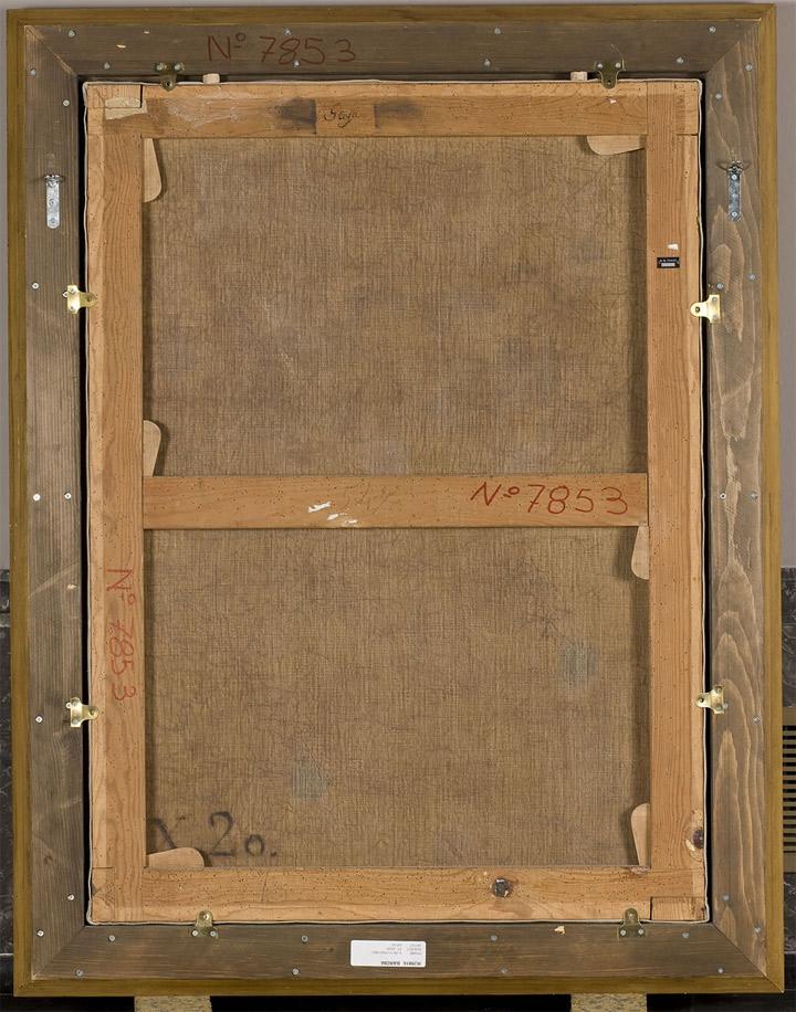 """<p>Francisco de Goya,<em>San Juan Bautista niño, en el desierto</em>, hacia 1810-12, reverso del lienzo con """"X.20"""", en negro, correspondiente al Inventario de 1812, en su versión de 1814, de los bienes de Goya</p>"""