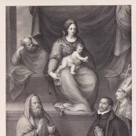 La Sagrada Familia, san Ildefonso, san Juan Evangelista y el maestro Alonso de Villegas