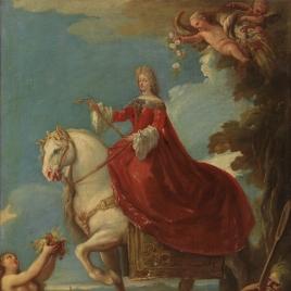 Mariana de Neoburgo, reina de España, a caballo