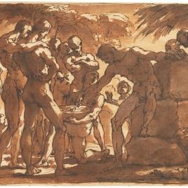 Varios personajes masculinos, desnudos, en un paisaje