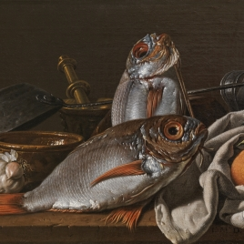 Still Life with Breams, Oranges, Garlic, Condiments, and Kitchen Utensils