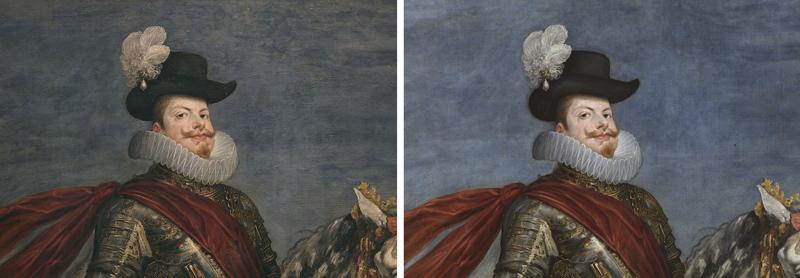 <p><em>Figura 1</em>. Detalle del rostro de Felipe III antes y después de la restauración</p>