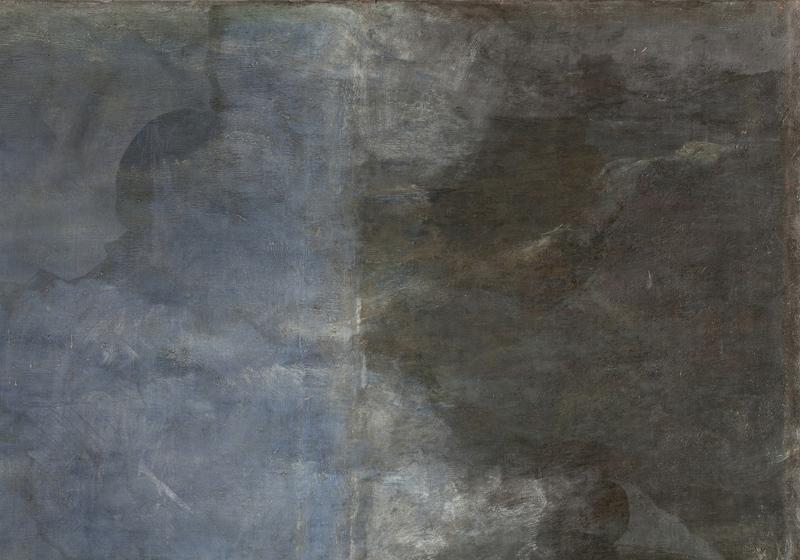 <p><em>Figura 2</em>. Detalle del cielo de la zona original y añadida durante el proceso de restauración</p>