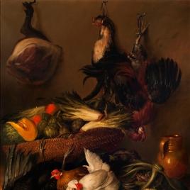 Bodegón de caza y hortalizas con gallinas