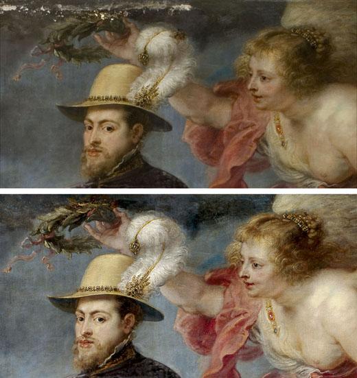 <p><em>Fig.4</em>. Detalle de la pintura durante y después de la restauración</p>