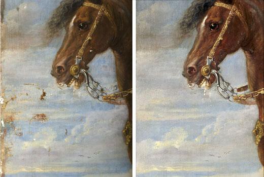 <p><em>Fig.3</em>. Detalle de la pintura durante y después de la restauración</p>