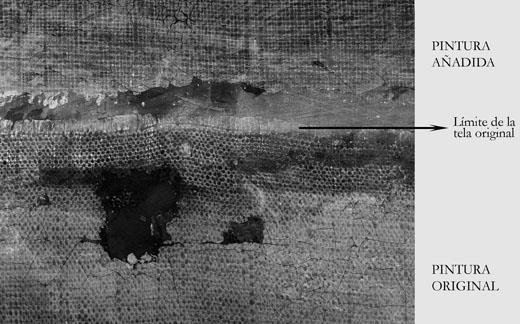 <p><em>Fig.2</em>. Detalle de la radiografía en la unión de la tela original con el añadido</p>