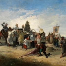 La aventura de don Quijote , cuando ataca a la procesión de los disciplinantes