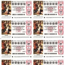 Capilla de billete de Lotería Nacional para el sorteo de 22 de diciembre de 2001