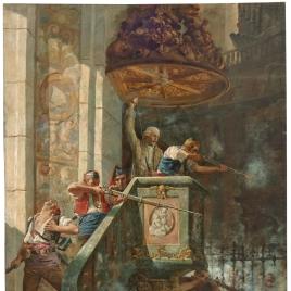 Combate heroico en el púlpito de la iglesia de San Agustín de Zaragoza en el segundo sitio de 1809