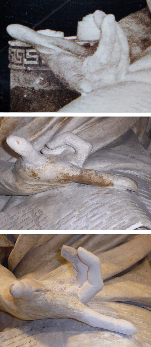 <p><em>Fig.10</em>: old photographs that showed the work with the original hand still intact were also consulted. Reconstructed areas that harmonised with the work were retained.</p>