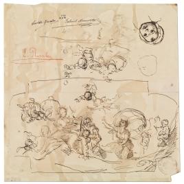Alegoría de la Música. Dos geniecillos volando. Cabeza de niña con gorro / Figura femenina sentada y de perfil. Figuras infantiles