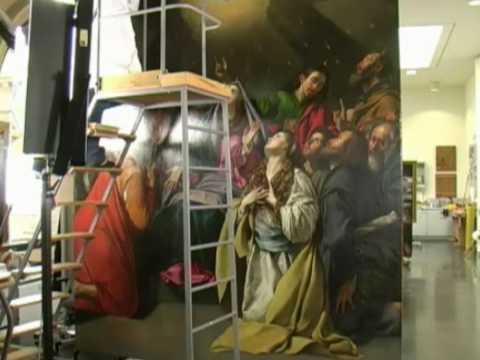 Obras de Maíno en el taller de restauración