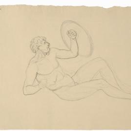 Estudio de desnudo masculino reclinado con un escudo