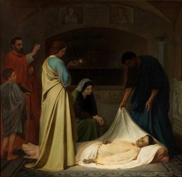 Entierro de San Lorenzo en las catacumbas de Roma