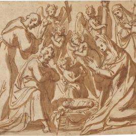 La Natividad, con San Francisco y una monja santa; detrás ángeles portando los símbolos de la Pasión
