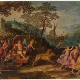 Alegoría del mes de Octubre con el triunfo de Baco y el signo de Escorpio