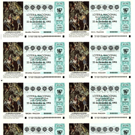 Capilla de billete de Lotería Nacional para el sorteo de 22 de diciembre de 1995
