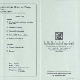 Fundación Amigos del Museo del Prado : octubre - noviembre 2000: [Pintura en Madrid, 1640-1685 , La Sala Reservada del Museo del Prado, Pintura italiana del Renacimiento en el Museo del Prado : Venecia] / Amigos del Museo del Prado
