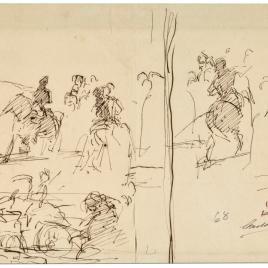 Episodio de la batalla de Tetuán / Apunte de composición histórica (Doña Blanca de Navarra). Grupo de soldados disparando. Un jinete.