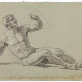 Estudio de desnudo masculino reclinado, con puñal y escudo