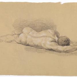 Estudio de desnudo masculino tendido, de espaldas