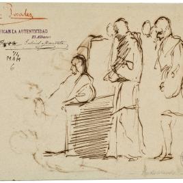 Personaje sentado junto a otros en pie / Grupo de personajes del siglo XVI
