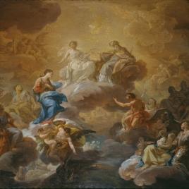 La Santísima Trinidad, la Virgen y santos