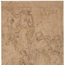 Cristo y la Virgen reciben a un santo fraile en Gloria