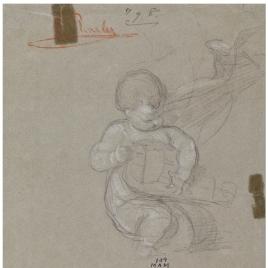 Niño desnudo tocando una zanfonía