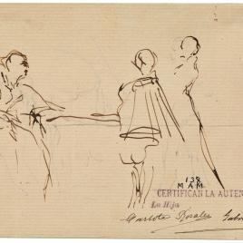 Presentación de Don Juan de Austria (?) / Hombre dirigiendo su discurso a un grupo de personajes sentados