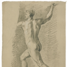 Estudio de desnudo masculino de perfil con casco blandiendo una lanza