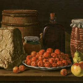 Bodegón con plato de acerolas, frutas, queso, melero y otros recipientes