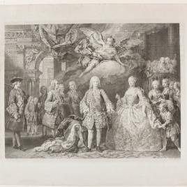 Fernando VI y Bárbara de Braganza con su corte